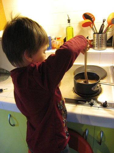 making hot chocolate, 3 year old, cooking, … IMG_1886