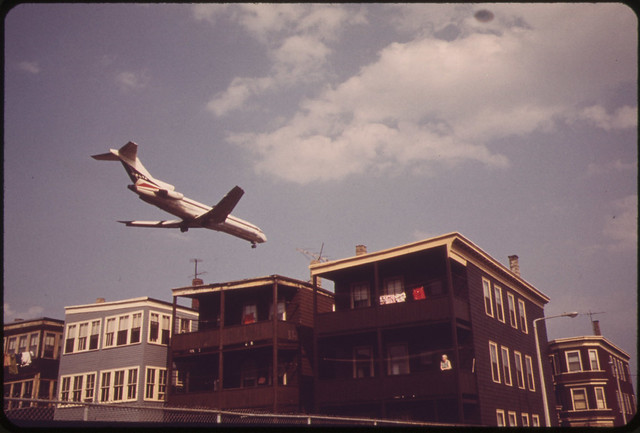 Near Logan Airport - Airplane Coming in for Landing Over Frankfort Street at Lovell Street Intersection