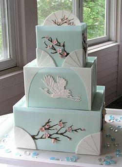 Blue and White Japanese Inspired Wedding Cake