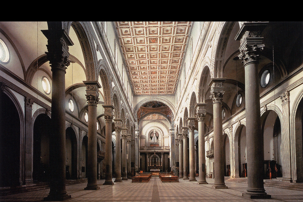 Brunelleschi interior of s lorenzo c1424 a photo on for Interior iglesia san lorenzo brunelleschi