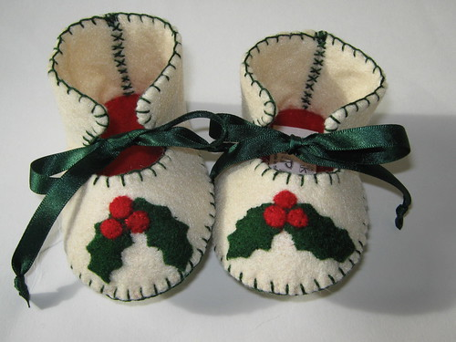 Cream and Red Baby Shoes with Holly Leaves Motifs by Funky Shapes
