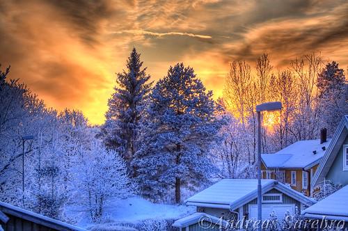 winter sunset snow vinter handheld snö 2009 hdr arboga 80200l magicdrainpipe
