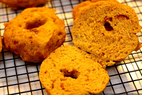 sun dried tomato bagels after baking