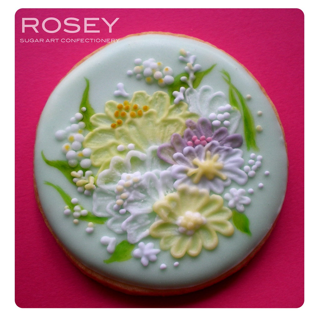 Brush Embroidery Flower Cookie