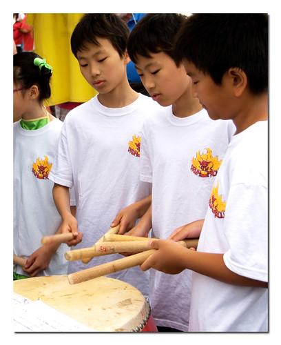 Boys playing drum