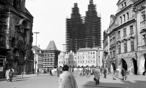 1970s Vintage Prague. Old Town Square, Tyn Cathedral
