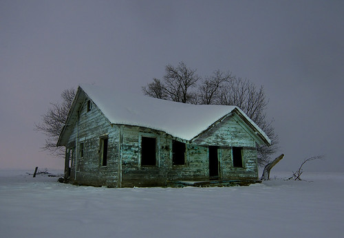winter house snow abandoned night texas farm parker