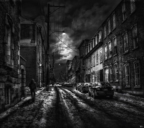 street city bw moon snow canada cars night clouds quebec streetlights quebeccity cs4 photomatix hdr3ex niksfilters thelonewalker