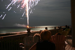 Watching fireworks at the beach