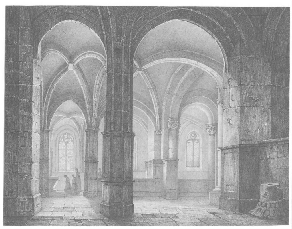 pencil drawing of church interior late 1800s?