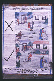 Cleanliness leads to a healthy mind and body, keeping a clean environment, educational poster at a shared housing unit, in Tibetan, India 1999