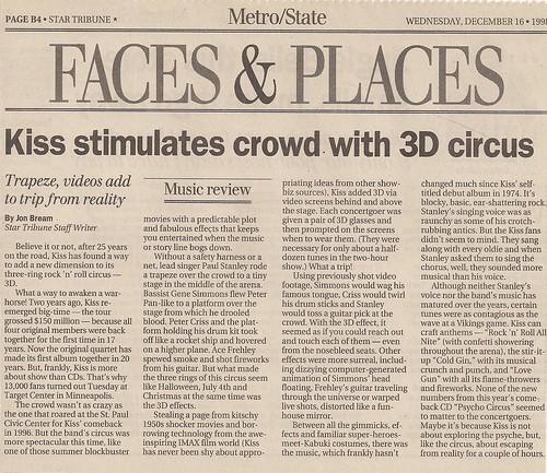 12/15/98 Kiss/Econoline Crush @ Minneapolis, MN (Newspaper Review)