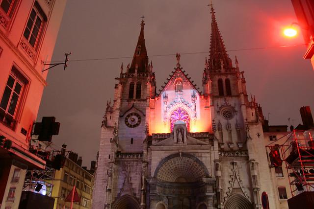 Eglise Saint-Nizier illuminata per la festa delle luci Lione