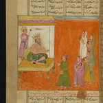 Illuminated Manuscript, Collection of poems (masnavi), Hebrew mothers with their babies in front of the Pharaoh who intends to kill them, Walters Art Museum Ms. W.626, fol. 113a