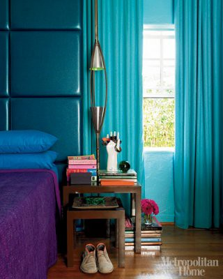 Jewel tones in the bedroom turquoise headboard drapes - Blue and purple bedroom curtains ...