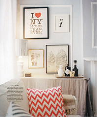 Ideas for small spaces: Modern fabric + skirted bar + framed artwork