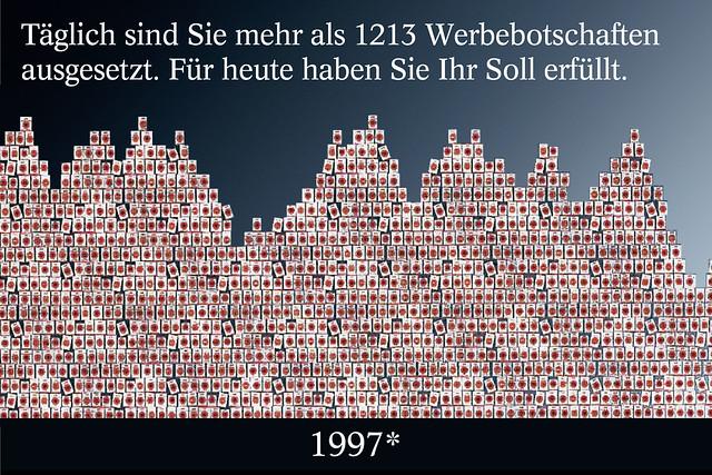 Täglich sind Sie mehr als 1213 Werbebotschaften ausgesetzt. Für heute haben Sie ihr Soll erfüllt. Lucky Strike Plakat-Werbung 1997