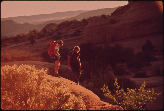 Hikers Terry Mcgaw and Glen Denny on the Trail to Delicate Arch in Arches National Park, 05/1972