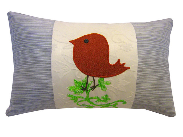 Throw Pillows Bird Design : Decorative pillow, cushion with red bird design and embroidery ( free motion embriodery ...