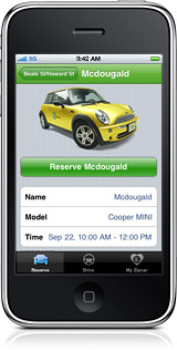 Screen image, Iphone application for Zipcar