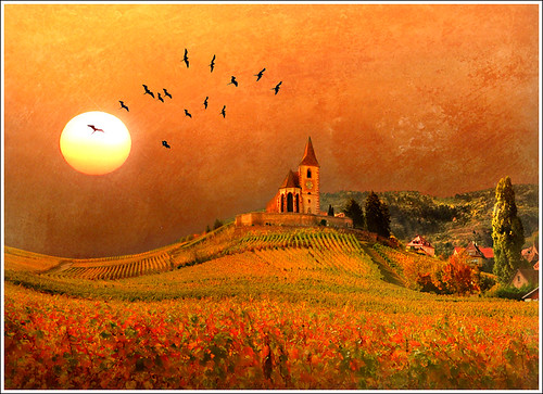 autumn sky orange sun sunlight france hot art texture church nature sunshine birds illustration photoshop automne painting spectacular landscape nikon paint dream vine peinture dreaming onceuponatime alsace unreal paysage legend église chaud tale hdr colline anotherworld conte mattepainting warmtones rêve d90 hunawihr legende irréel hunawhir priaux ilétaitunefois vanagram vosplusbellesphotos saariysqualitypictures
