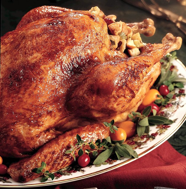 Glazed Roast Turkey with Cranberry Stuffing Recipe - a photo on ...