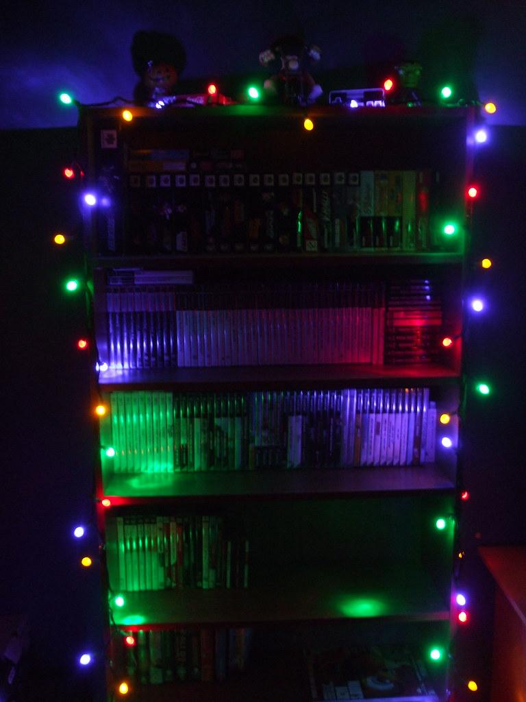 Christmas Decorations '08- Bookshelf in the Dark
