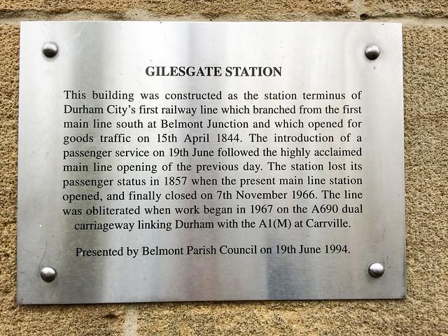 Photo of Gilesgate railway station, Durham brushed metal plaque