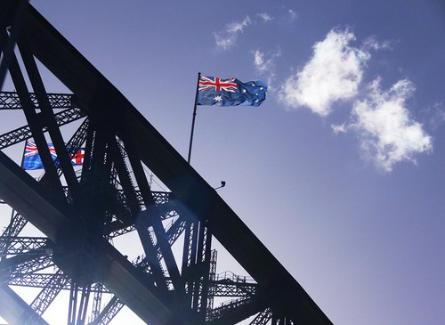 Australian & NSW Flags - Sydney Harbour Bridge
