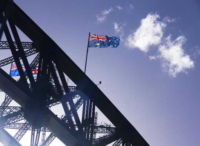 Australian & NSW Flag-Sydney Harbour Bridge