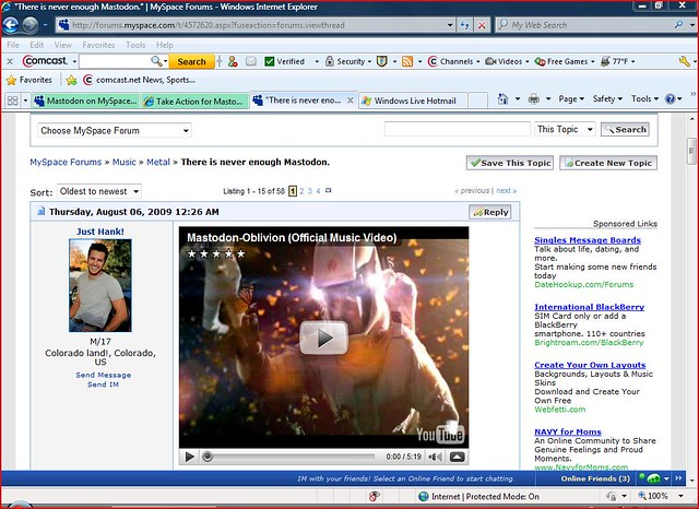 Myspace oblivon video add Sean Dawkins   Mastodontakeover