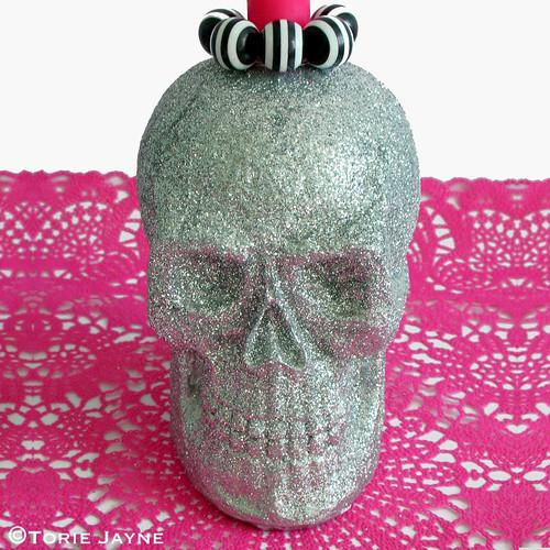 Glitter Skull Candle Holder