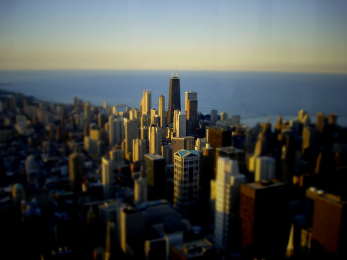 Tiltshift Chicago skyline