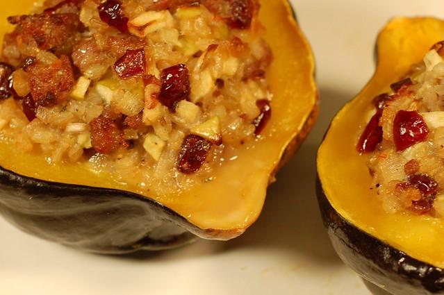 Sweet & Savory Stuffed Acorn Squash by Eve Fox, Garden of Eating blog