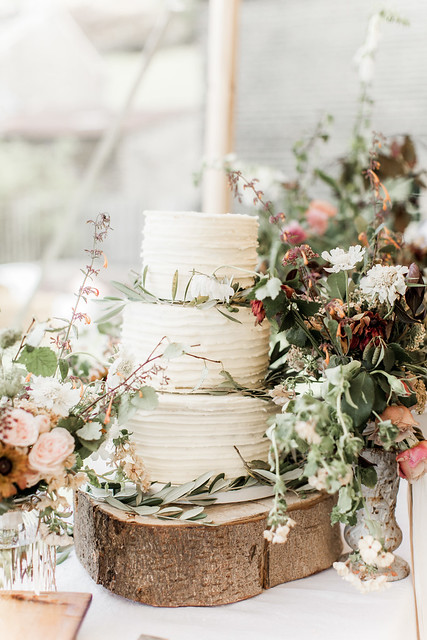 Rustic Olive Leaves Wedding Cake by White Rose Cake Design photo by Naomi Kenton Photography