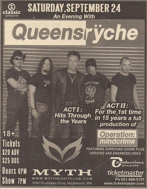 09/24/05 Queensryche @ Maplewood, MN (Ad)