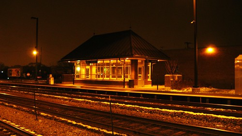 Night time at the Metra Galewood commuter depot. Chicago Illinois. December 2009. by Eddie from Chicago