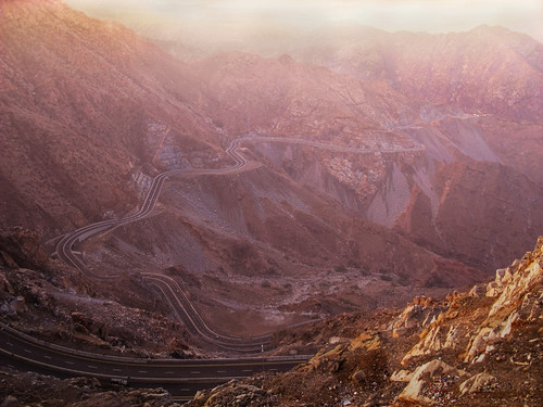 road sky mountains sunrise rocks saudi arabia overlooking taif getzy777