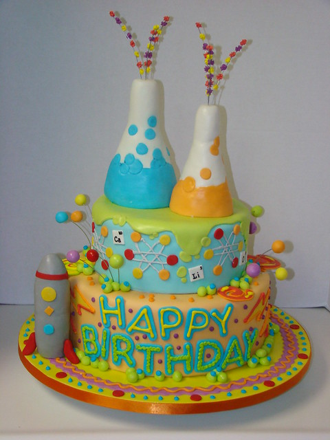 Science Theme Birthday Cakes http://www.flickr.com/photos/sweetcakesbyrebecca/4202867253/