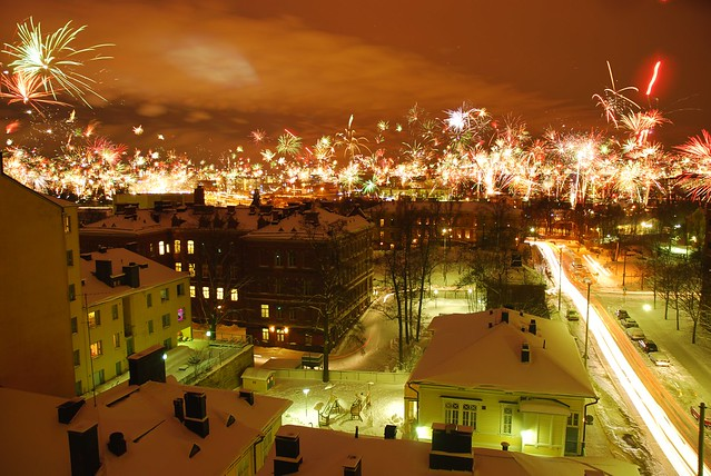 Fuegos artificiales en Helsinki, Finlandia