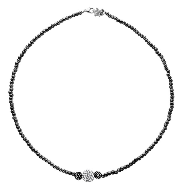 Sterling Silver Oxidized Necklace with Small Bead and 10mm Crystal Pave Ball Mini 16