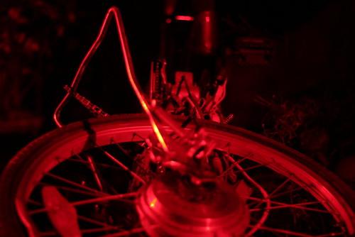 Red rear bike wheel