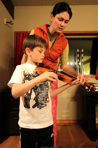 mother & son violin lesson