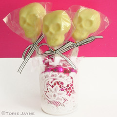 Handmade white chocolate skulls