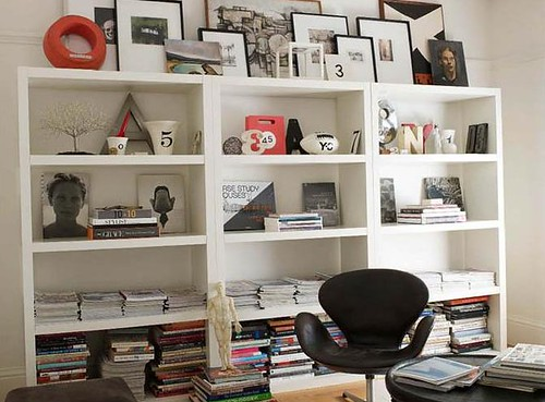 Modern office: Vintage Jacobsen Swan chair + IKEA bookshelves