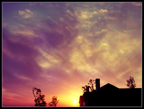 sunset sun moon house color building tree clouds sunrise painting stream waves apartment
