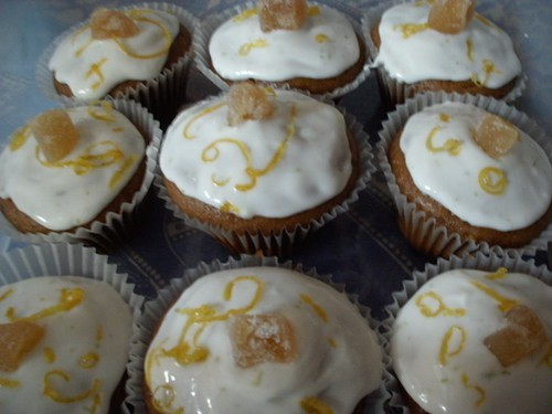 Vegan cupcakes with lemon frosting and crystallised ginger