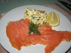 salmon, fish, garnish, lox, food, dish, cuisine, smoked salmon,