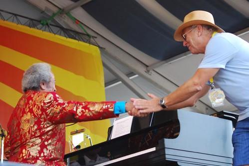 Allen Toussaint and Jimmy Buffet share a handshake