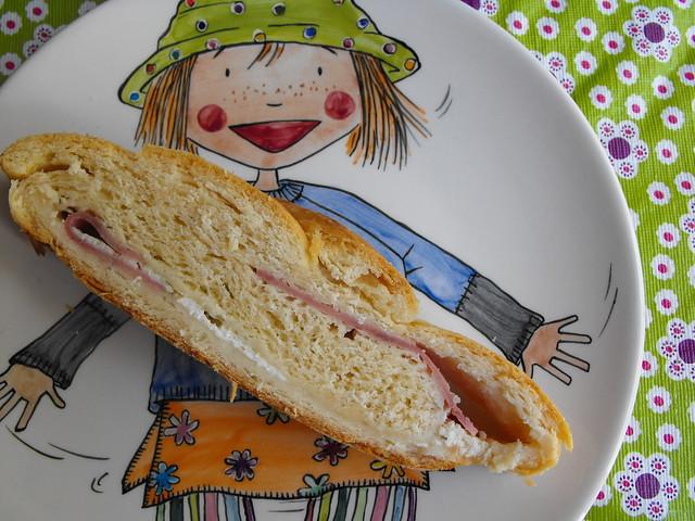 Pão com queijo quark e fiambre